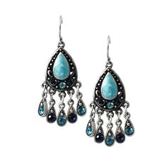 Mesmerico Blue Jeweled Dangle on Dangle Statement Earrings