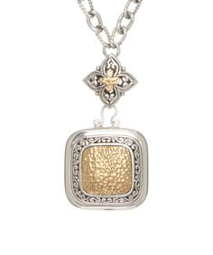 Look what I found on #zulily! Two-Tone Ornate Square Pendant Necklace #zulilyfinds