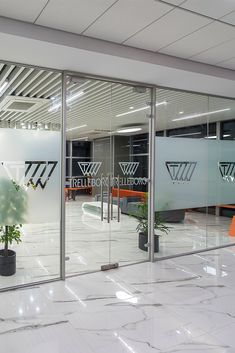 Glass Frosting can be a sure way of highlighting your branding at the workspace. When ZYETA designed the new Trelleborg's office space, the brand's logo was beautifully decorated on the glass doors, depicting brand marketing. Glass Office Doors, Glass Doors, Glass Film Design, Glass Partition Designs, Etched Glass Door, Door Design, Sign Design, Office Branding, Workspace Design