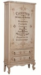 LINGERIE ARMOIRE - Heritage Oyster finish over all with hand-painted French graphics. Antiqued and locking hardware. Dimensions:  Height: 72 in / 182.88 cm Width: 34 in / 86.36 cm Depth: 12 in / 30.48 cm Country of Origin:  Indonesia Ship Method: Freight