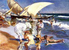 Playa de valencia a la luz de la mañana.  1908