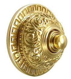 2 7/8 Inch Diameter Eastlake Doorbell (Polished Brass Finish)