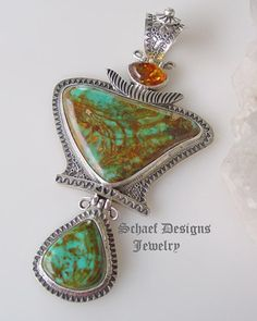 David Troutman Jewelry |Kingman Turquoise, Amber & sterling silver large southwestern pendant | upscale online turquoise, southwestern, native american, equine, & gemstone jewelry gallery boutique| Schaef Designs artisan handcrafted Jewelry | New Mexico