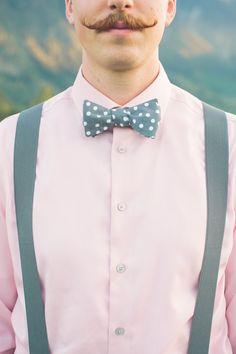 polka dot bow tie! photo by The Nickersons http://ruffledblog.com/north-arm-farm-wedding #grooms #bowties