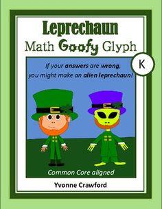 St. Patrick's Leprechaun Math Goofy Glyph for kindergarten $