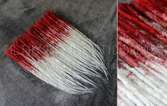 Filthy synthetics red and white crocheted transitional dreads
