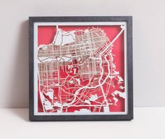 "San Francisco Laser Cut Map With Minimal Shadowbox Frame- 8"" city map (custom)"
