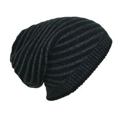 5a07b858354 Dynamic Asia Reversible Solid to Slanted Stripe Knit Beanie Hat