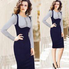 2-en-1 cuadros de color bloque falbala Para Mujer desgaste para el trabajo de oficina Lápiz Vestido Ranuradas