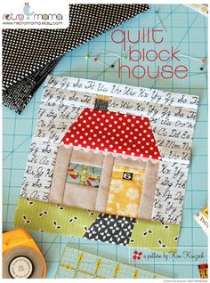 Quilt Block House Patchwork PDF Sewing Pattern by retromama. Obviously a for sale pattern, but super cute! House Quilt Patterns, House Quilt Block, House Quilts, Quilt Block Patterns, Pdf Sewing Patterns, Pattern Blocks, Quilt Blocks, Patchwork Patterns, Patchwork Designs