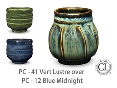 Photo of cup glazed with PC-41 Vert Lustre over PC-12 Blue Midnight