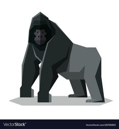 Flat geometric gorilla vector image on VectorStock Free Vector Images, Vector Free, Eps Vector, Cartoon Styles, Birds In Flight, Adobe Illustrator, Graphic Art, Illustration, Cute