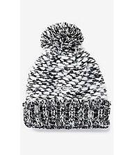 Extra Thick Marled Knit Pom Beanie | Express