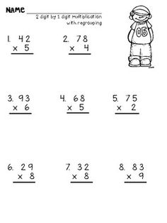 Multiplying 2 digit and 3 digit numbers by 1 digit with regrouping 4th Grade Multiplication Worksheets, Printable Math Worksheets, Free Printable, Education Quotes For Teachers, Math Education, Education English, Math Facts, Math Lessons, Numbers