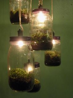 A very cool idea for lights/a chandelier.