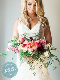 Learn about all 9 flowers in this bouquet: http://www.stylemepretty.com/2015/08/29/bouquet-breakdown-chic-carondelet-house-wedding/ | Floral Design: Lavenders Flowers - http://www.lavendersfloral.com/