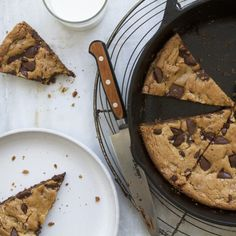 The batter for this large-format dreamboat of a cookie (crunchy on the edges, chewy in the middle) is made in one bowl with no special equipment, and can be baked in either a cast-iron or large skillet.