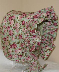 Baby Bonnet- Vintage Petite Rose- Baby Hat- Reversible. $19.00, via Etsy.
