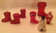 Santa Claus Red Boot Stocking Ornament Rosbro Snowman Lot Vintage Christmas