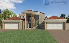 A 5 bedroom double storey house plan for sale. Find modern 5 bedroom house plans with 4 garages, 5 bedroom Tuscan house plans with photos and Tuscan House Plans, Modern House Floor Plans, Contemporary House Plans, Modern Contemporary, House Plans For Sale, House Plans With Photos, Dream House Plans, 4 Bedroom House Designs, 5 Bedroom House Plans