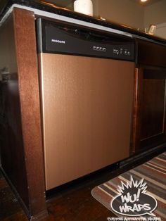 dishwasher wrapped in DI-NOC Brushed copper vinyl ❤️ This is Awesome! Kitchen Nook, New Kitchen, Kitchen Decor, Kitchen Design, Kitchen Ideas, Copper Kitchen, Granite Kitchen, Kitchen Backsplash, Kitchen On A Budget