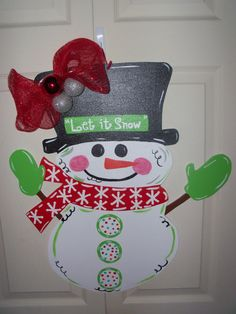 Whimsical Wooden Snowman Door Hanger or by ThePaisleyPersimmon, $50.00
