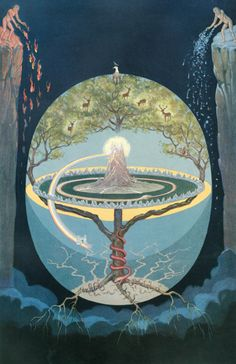 Ygdrasill, the tree of life in Norse Mythology. @Michelle Flynn Flynn Rauch Larson, don't you think this is cool?