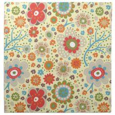Estampado de flores colorido del vintage servilleta de Zazzle.