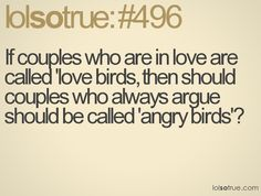 "If couples who are in love are called ""love birds"" then should couples who always argue should be called ""angry birds""?"