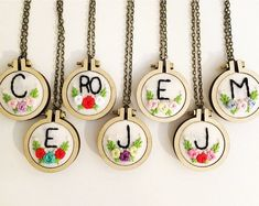 Hand Embroidery Necklace, Made to Order, Mini Hoops, Monogram Embroidery Hearts, Embroidery Letters, Hand Work Embroidery, Free Machine Embroidery Designs, Embroidery Hoop Art, Etsy Embroidery, Initial Necklace, Pendant, Sewing