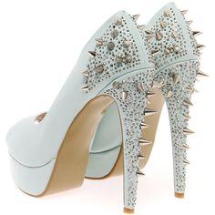 Boutique Kate Mint Stud & Diamante Platform Heels ($90) ❤ liked on Polyvore