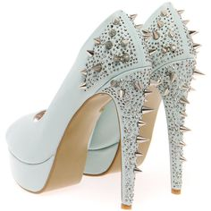Boutique Kate Mint Stud & Diamante Platform Heels ($90) ❤ liked on Polyvore