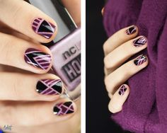 Graphic nail art with striping tape by Pshiiit