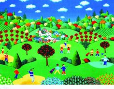 """Sunday Golf"" (unframed: 9 x 12 inches)   US$35 by Joanne Netting available wholesale, worldwide (free shipping), from the artist; email: mailto:jnetting2@... This is a limited edition signed mini print reproduced from an original acrylic on canvas painting.  © Joanne Netting 1993. #art"