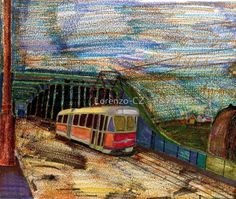 """Tram in Ústí nad Labem on bridge"" by Lorenzo-CZ Canvas Prints, Framed Prints, Art Prints, Art Boards, Travel Mug, Transportation, Bridge, Wall Art, House Styles"