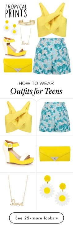 """""""Sunny Floral"""" by woah-its-katie on Polyvore featuring Delpozo, New Look, JNB, Stella & Dot, Sydney Evan, tropicalprints and hottropics"""