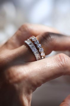 We are here for this alternative bridal stack! Not every bride wants a center stone, but this stack still endures you sparkle! Here we have the Round Cut Eternity band and the Radiant Cut Eternity Band..