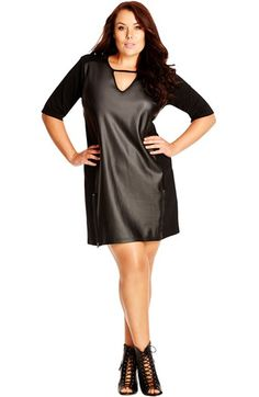 City Chic Faux Leather Front Shift Dress (Plus Size) available at #Nordstrom