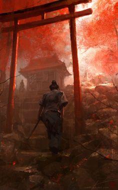 "fantasy-art-engine: ""A Samurai Ascends the Stairs by Jon McCoy "" Ronin Samurai, Samurai Warrior, Female Samurai Art, Japanese Art Samurai, Fantasy Samurai, Ninja Warrior, Fantasy Kunst, Fantasy Art, Samurai Artwork"