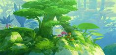 Art by Jae-Cheol Park a. Background Drawing, Animation Background, Game Background, Forest Illustration, Fantasy Illustration, Environment Concept Art, Environment Design, Vegetal Concept, Environmental Art