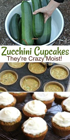 Recipe – Zucchini Cupcakes with Cream Cheese Frosting – One Hundred Dollars a Month Zucchini Cupcakes with Cream Cheese Frosting, Zucchini Desserts, Zucchini recipes Zucchini Cupcakes, Zucchini Muffins, Zucchini Bread Recipes, Recipe Zucchini, Zucchini Desserts, Moist Zucchini Bread, Just Desserts, Dessert Recipes, Healthy Cupcake Recipes