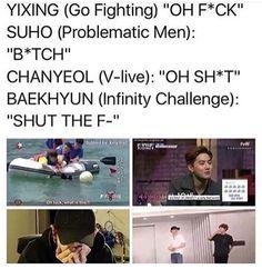EXO swearing | Yixing, Suho, Chanyeol, & Baekhyun ahahahhaha cute <3
