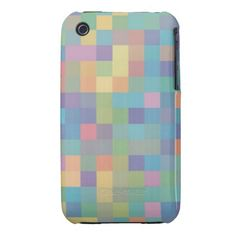 Pastel Rainbow Pixel Pattern iPhone 3 Case