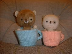 PDF knitting pattern for 2 teddies in teacups: one small bear in a small cup and one larger bear in a larger cup  Knitting pattern download