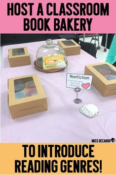 Host a Book Bakery to Teach Reading Genres! – Miss DeCarbo Host a book bakery in your classroom to teach students about different reading genres! Teaching Genre, Teaching First Grade, First Grade Reading, Teaching Reading, Teaching Ideas, Reading Genre Posters, Reading Genres, Reading Themes, Reading Resources