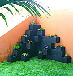 Cinder block planter boxes