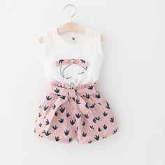 Sotida Girls Clothing Sets 2017 Children Clothing Sleeveless T-shirt+Print Pants for Kids Clothing Sets Baby Girls Clothes