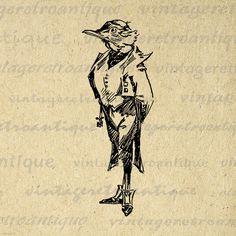 Printable Gentleman Bird Digital Image Formal Bird Download Graphic T-Shirts Jpg Png Eps 18x18 HQ 300dpi No.374 @ vintageretroantique.etsy.com #DigitalArt #Printable #Art #VintageRetroAntique #Digital #Clipart #Download