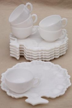 milk glass snack sets, apple trees tree of life plates & cups, vintage Orchard crystal