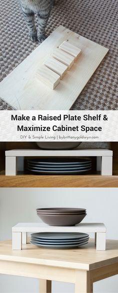 Make a Raised Plate Shelf & Maximize Cabinet Space